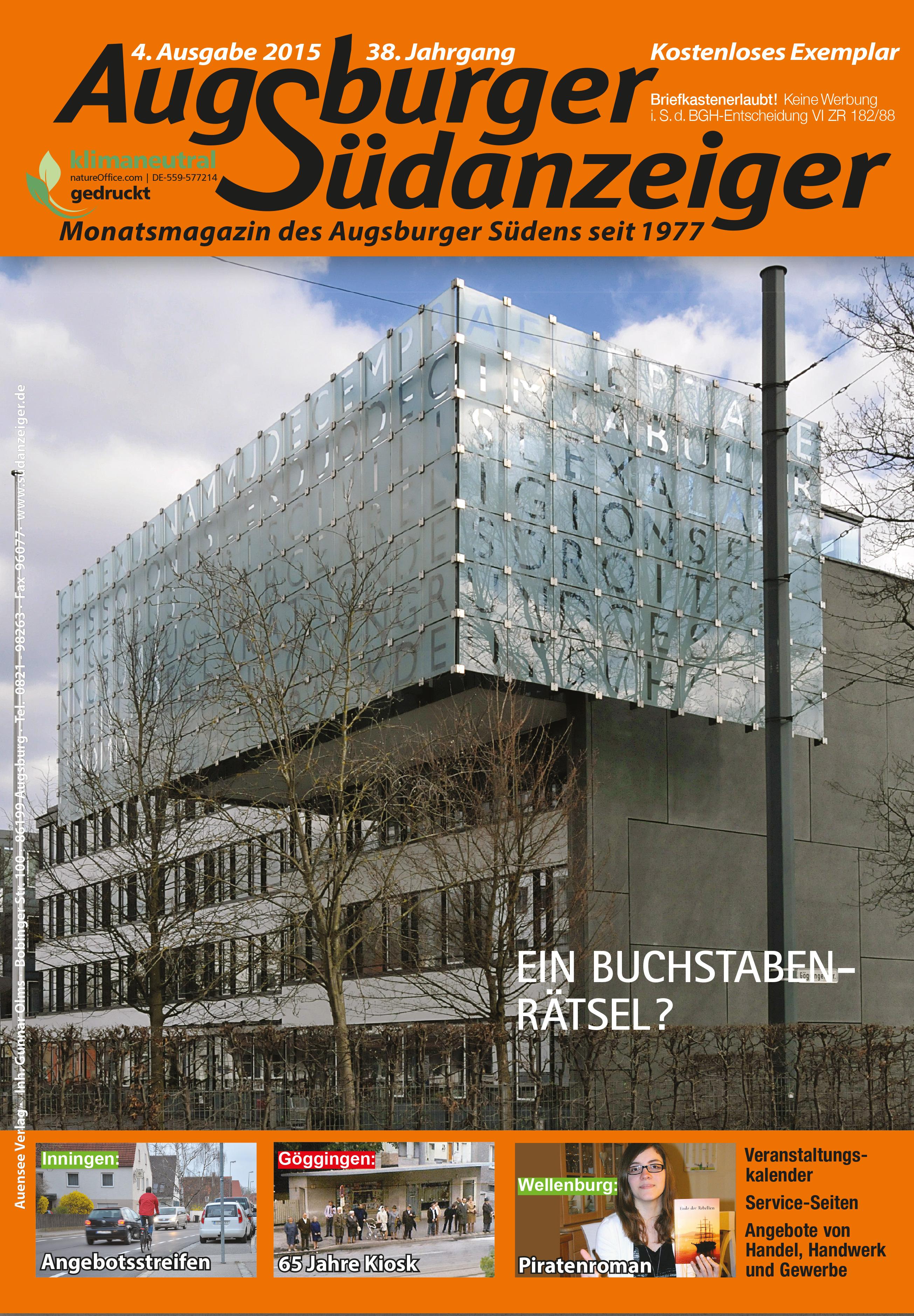 Unser Titelbild: Ein Buchstabenrätsel am Justizgebäude?