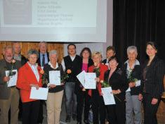 40 Jahre Vereinstreue: Günther Geiselmaier, Luise-Charlotte Buchwieser, Gerda Krist, Brigitte Reichel, Gertrud Mayerhauser, Therese Lutzenberger